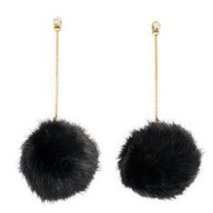 Black Pom Pom Earrings ~ Black / Gold / Crystal